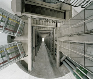 Alto Rabagão power station: busbar shaft (view from the machine hall), 2012 © Edgar Martins